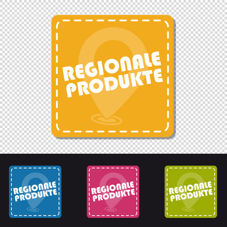 Four German Colorful Square Buttons Regional Products - Vector Illustration - Isolated On Transparent Background