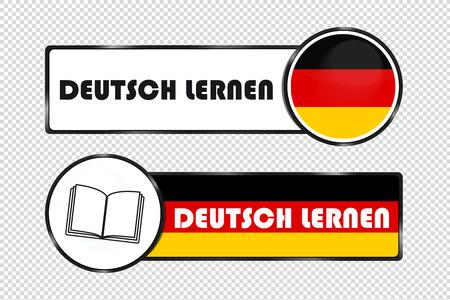 Botones cuadrados y circulares alemanes aprender alemán - ilustración vectorial con bandera alemana y libro - aislado sobre fondo transparente