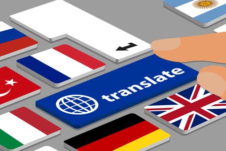 Clavier avec bouton de traduction bleu - ordinateur ou ordinateur portable avec les doigts et les drapeaux de pays - Illustration vectorielle