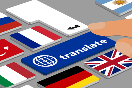 Keyboard With Blue Translate Button - Computer Or Laptop With Fingers And Country Flags - Vector Illustration