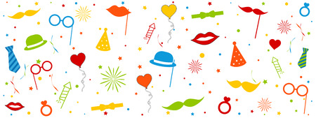 Photo Booth Wedding Carnival Equipment Icons With Circles And Stars - Colorful Vector Illustration - Isolated On White Background
