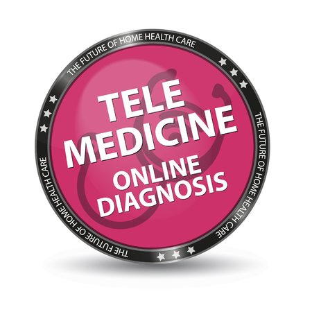 Pink Glossy Button Telemedicine Online Diagnosis - Vector Illustration - Isolated On White Background