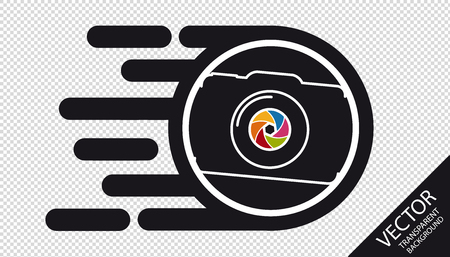 Speed Camera Flat Icon -   Fast Film Development Concept - Vector Illustration - Isolated On Transparent Background