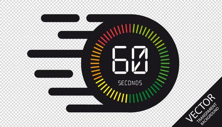 Orologio Velocità 60 Secondi Icona Piatta - Illustrazione Vettoriale - Isolato Su Sfondo Trasparente