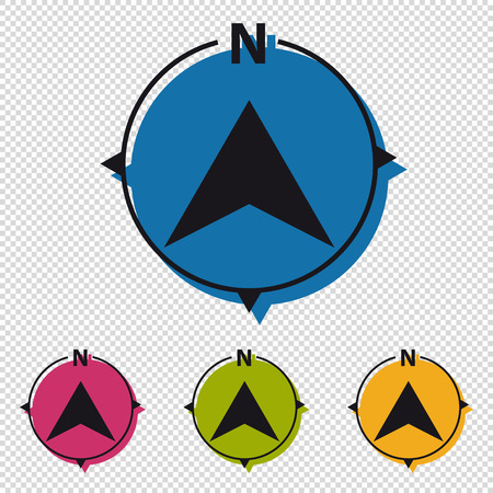 North Direction Compass - Colorful Vector Icons - Isolated On Transparent Background