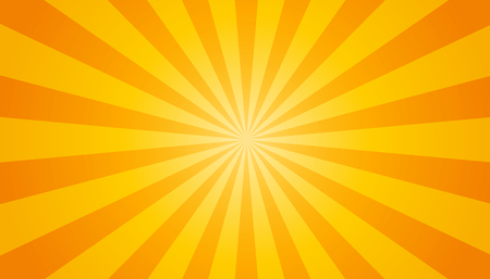 Orange And Yellow Sunburst Background - Vector Illustration Çizim