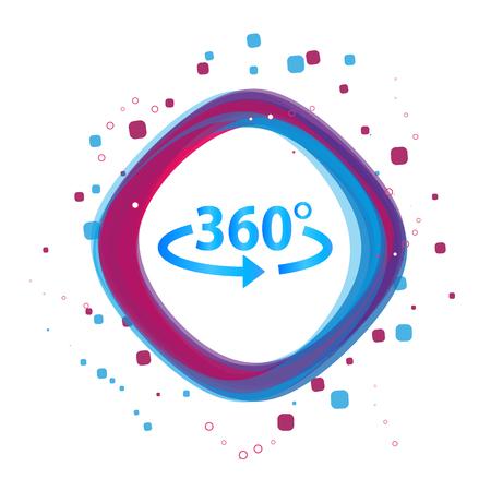 Angolo 360 Gradi Icona - Moderna Illustrazione Vettoriale Colorato - Isolato Su Sfondo Bianco Vettoriali