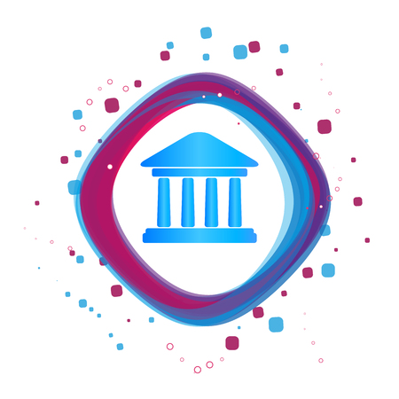 Bank Building Icon - Modern Colorful Vector Illustration - Isolated On White Background Illustration