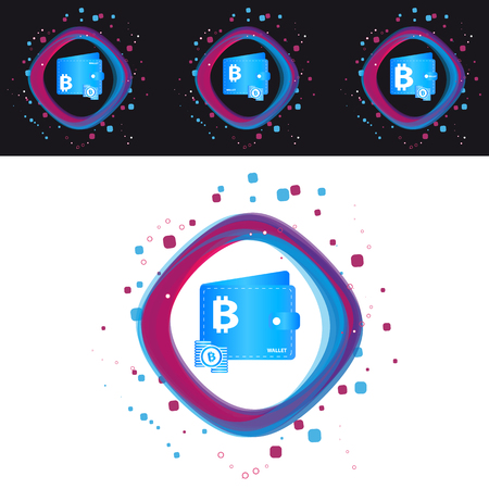 Bitcoin Wallet Icons - Modern Colorful Vector Illustration - Isolated On Black And White Background