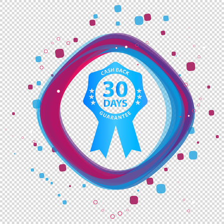 Seal Badge 30 Days Cash Back Guarantee - Colorful Vector Button - Isolated On Transparent Background