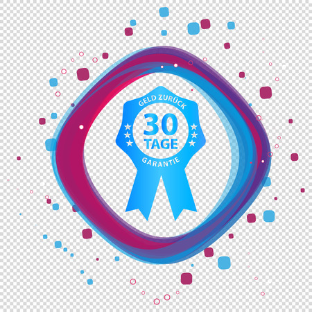 German Seal Badge 30 Days Cash Back Guarantee - Colorful Vector Button - Isolated On Transparent Background