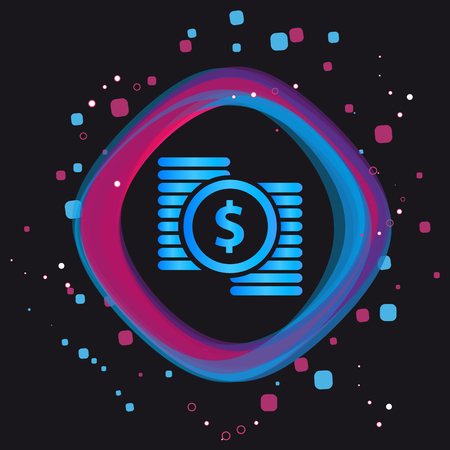 Dollar Money Button - Modern Colorful Vector Icon - Isolated On Black Background Çizim