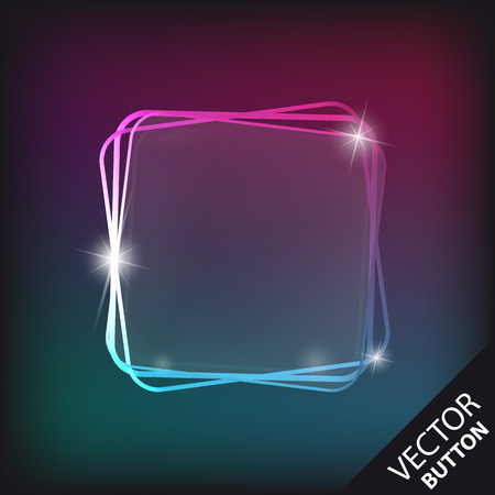 Reflecting Transparent Glass Button Isolated Over Modern Colorful Background - Vector Illustration Ilustrace