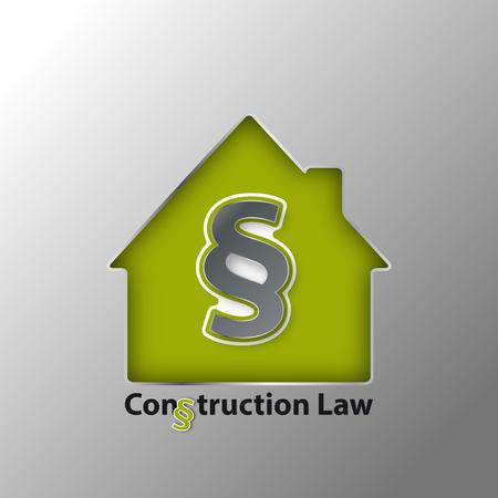 3D Paragraph Symbol And House - Construction Law Concept - Vector Illustration Metallic Design