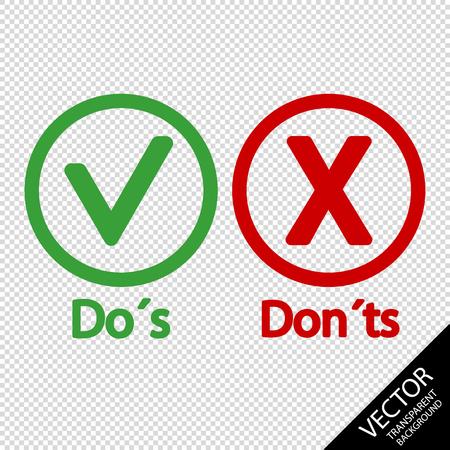Segno Di Spunta E Icone X - Cose Da Fare E Da Non Fare - Illustrazione Vettoriale - Isolato Su Sfondo Trasparente Vettoriali