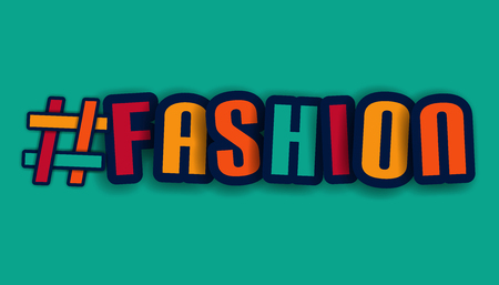 Hashtag Fashion Letters - Colorful Vector Illustration - Isolated On Turquoise Background