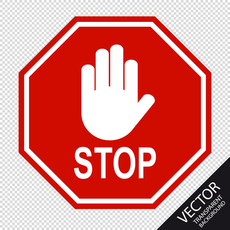 Red Stop Sign And Hand Signal - Vector Illustration - Isolated On Transparent Background