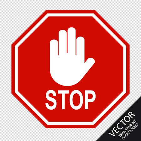 Segnale di stop rosso e segnale manuale - illustrazione vettoriale - isolato su sfondo trasparente Vettoriali