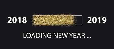 Loading New Year 2018 To 2019 - Glitter Progress Bar - Vector Illustration - Isolated On Black Background