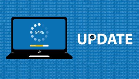 Pantalla del portátil y barra de carga - Concepto de actualización de software con fondo azul de matriz