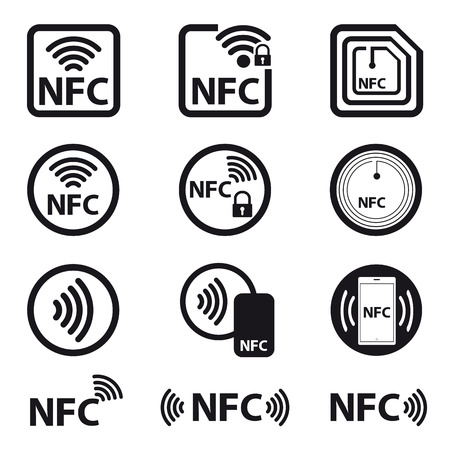 NFC Technology - Icon Set - Vector Illustration - Isolated On White Background Çizim