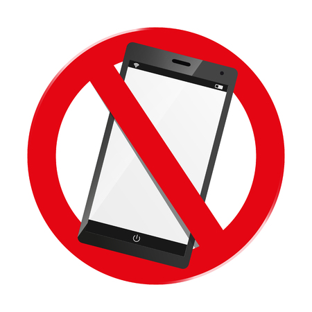 Do Not Use Smartphone - Mobile Devices Forbidden Sign - Isolated On White Background Illustration