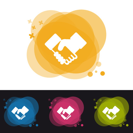 Handshake Icon - Four Colorful Transparency Buttons - Vector Illustration - Isolated On Monochrome Background