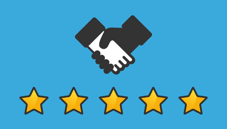 Product Rating Stars And Handshake - Customer Review Concept - Vector Illustration - Isolated On Blue Background