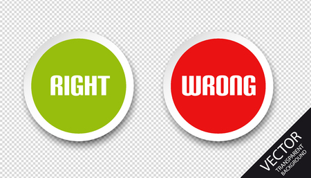 Right Wrong Icons - Green And Red Vector Buttons - Isolated On Transparent Background