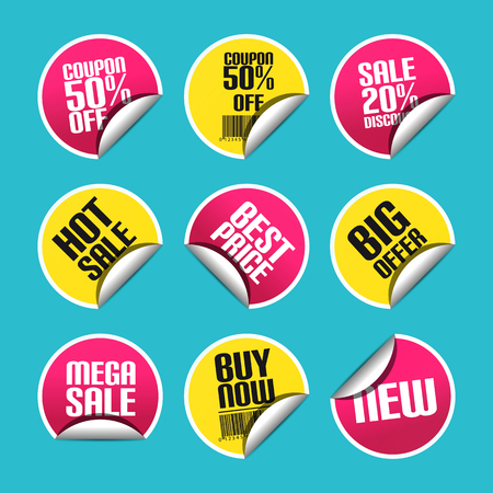 Sale Discount Sticker Set With Curved Corner - Colorful Vector Illustration - Isolated On Monochrome Background