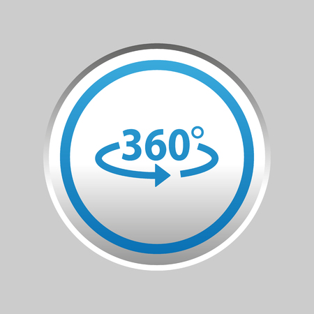Angle 360 Degrees Sticker - Silver Blue Metallic Vector Illustration - Isolated On Gray Background