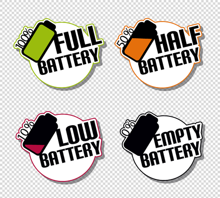 Battery Status Full Half Low Empty Stickers - Colorful Vector Illustration - Isolated On Transparent Background