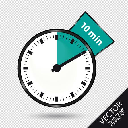 Timer 10 Minutes - Vector Illustration - Isolated On Transparent Background Illustration