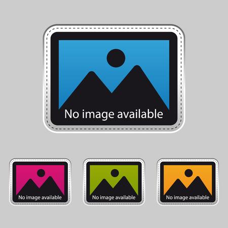 Geen afbeelding beschikbaar - Zilveren metalen sticker - kleurrijke vectorillustratie - geïsoleerd op een grijze achtergrond Vector Illustratie
