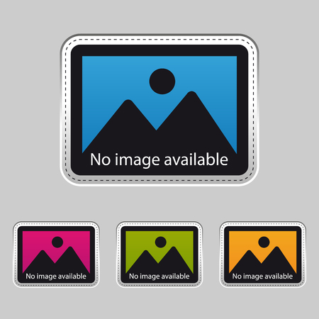 No Image Available - Silver Metallic Sticker - Colorful Vector Illustration - Isolated On Gray Background 向量圖像