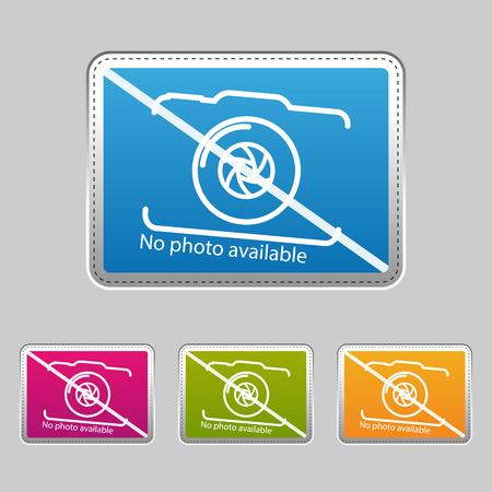 No Photo Available - Silver Metallic Sticker - Colorful Vector Illustration - Isolated On Gray Background Stock Illustratie