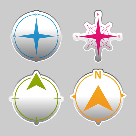 North Direction Compass - Silver Metallic Sticker Set - Colorful Vector Illustration - Isolated On Gray Background Stock Illustratie