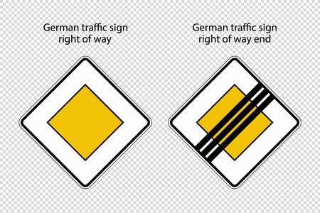 German Road Sign Right Of Way And Right Of Way End - Vector Illustration - Isolated On Transparent Background