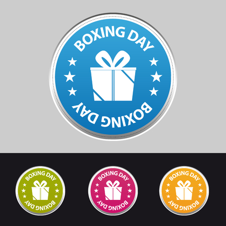 Boxing Day Sticker Button With Gift - Colorful Vector Illustration - Isolated On Gray And Black Background Stock Illustratie
