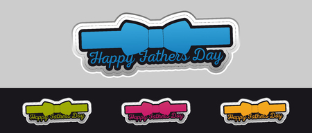 Happy Fathers Day Sticker Button - Colorful Vector Illustration - Isolated On Gray And Black Background