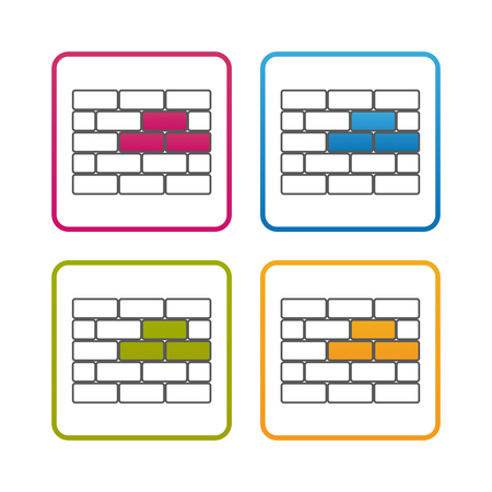 Brick Wall - Outline Styled Icon - Editable Stroke - Colorful Vector Illustration - Isolated On White Background