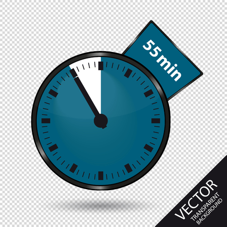 Timer 55 Minutes - Vector Illustration - Isolated On Transparent Background