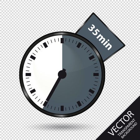 Timer 35 Minutes - Vector Illustration - Isolated On Transparent Background Stock Illustratie