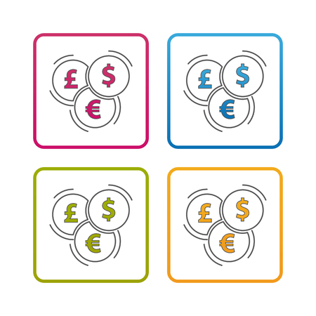 Different Currencies - Outline Styled Icon - Editable Stroke - Colorful Vector Illustration - Isolated On White Background