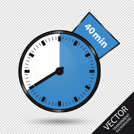 Timer 40 Minutes - Vector Illustration - Isolated On Transparent Background Stock Illustratie