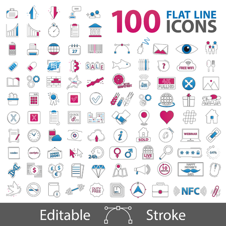 100 Flat Line Icons Collection - Outline Styled Symbols - Editable Strokes - Vector Illustrations - Isolated On White Background