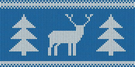 Knitted Pattern - Retro Christmas Jumper Design With Reindeer And Tree - Blue And White Vector Illustration Stock Illustratie