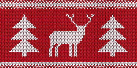Knitted Pattern - Retro Christmas Jumper Design With Reindeer And Tree - Red And White Vector Illustration