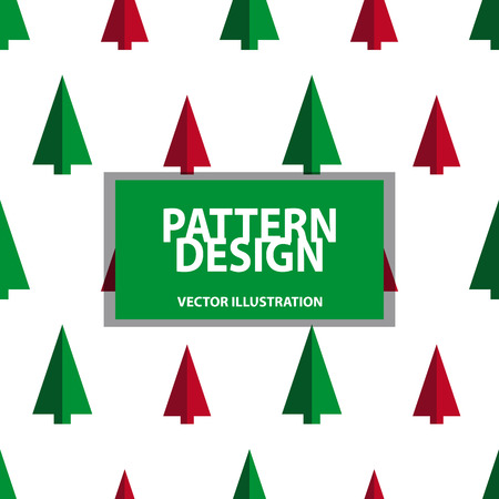 Seamless Pattern - Christmas Tree Background - Vector Illustration - Isolated On White Background Stock Illustratie
