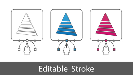 3D Pyramide Elements - Outline Styled Icon - Editable Stroke - Vector Illustration - Isolated On White Background